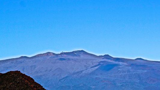 Mauna Kea Telescopes From Mauna Loa